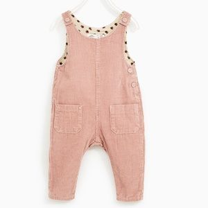 Zara baby girl 2-3T pale pink dungarees NEW w/tag.